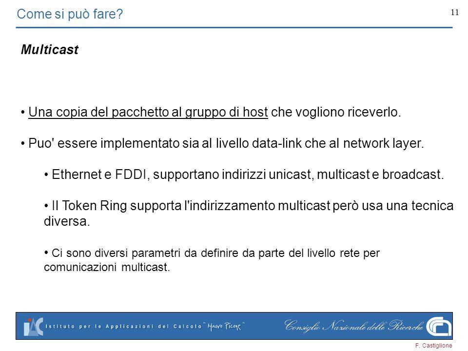 F. Castiglione 11 Come si può fare? Multicast Una copia del pacchetto al gruppo di host che vogliono riceverlo. Puo' essere implementato sia al livell