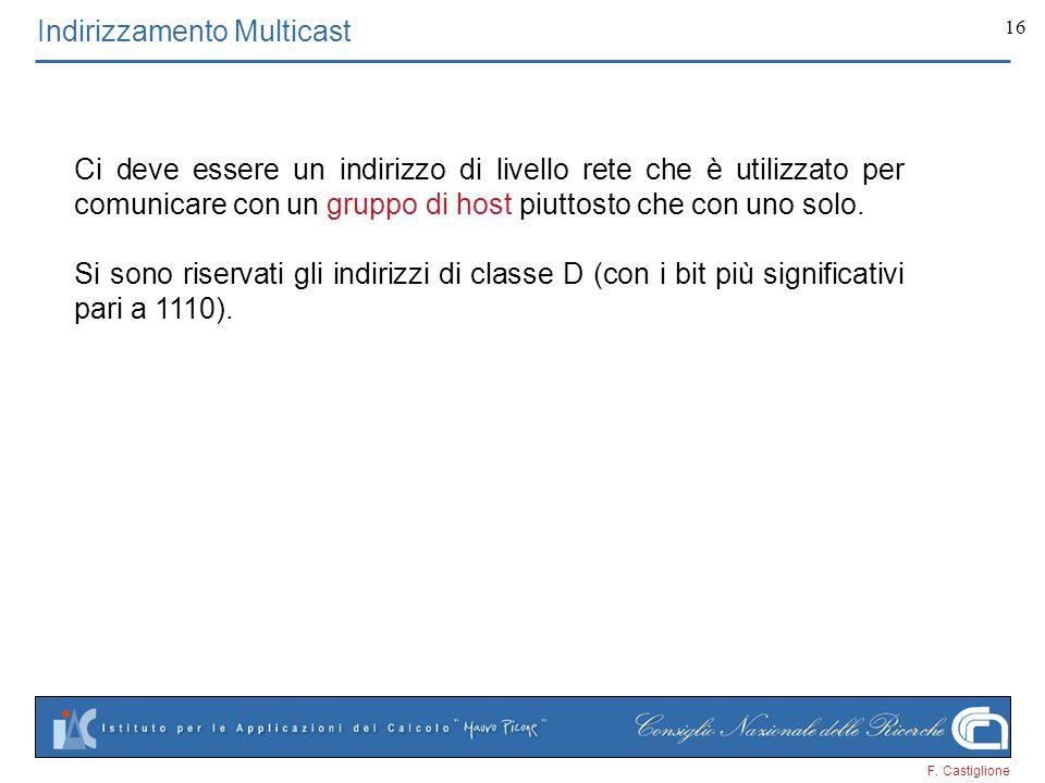 F. Castiglione 16 Indirizzamento Multicast Ci deve essere un indirizzo di livello rete che è utilizzato per comunicare con un gruppo di host piuttosto