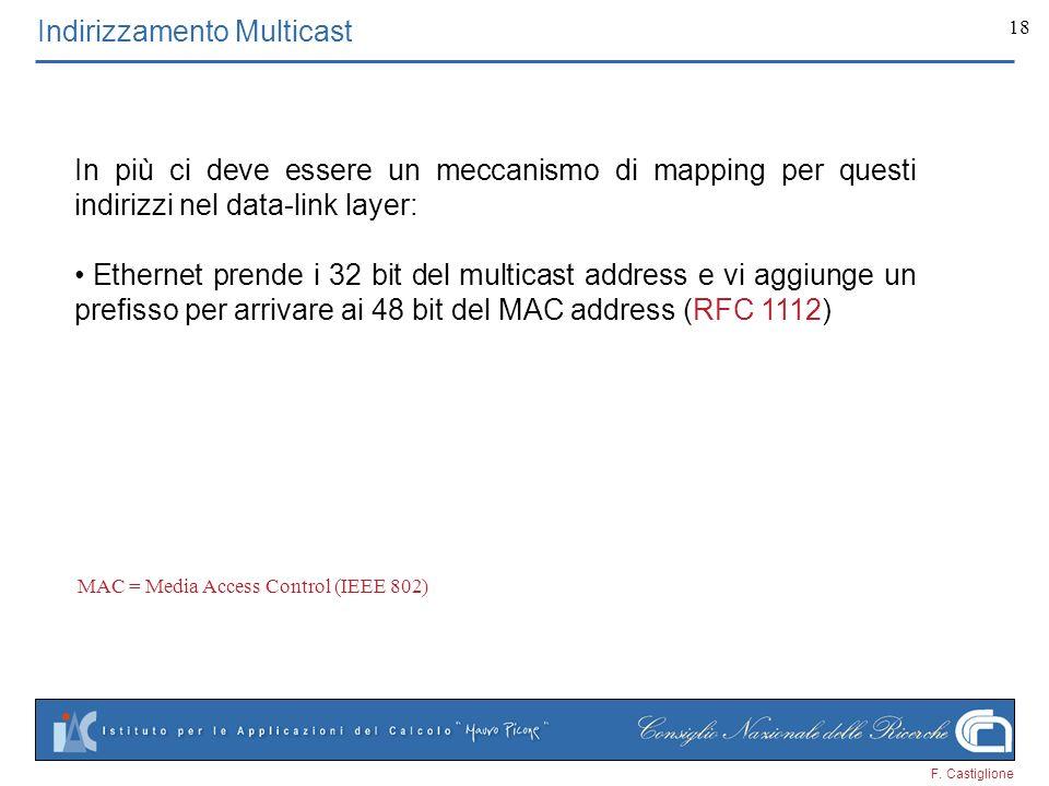 F. Castiglione 18 Indirizzamento Multicast In più ci deve essere un meccanismo di mapping per questi indirizzi nel data-link layer: Ethernet prende i