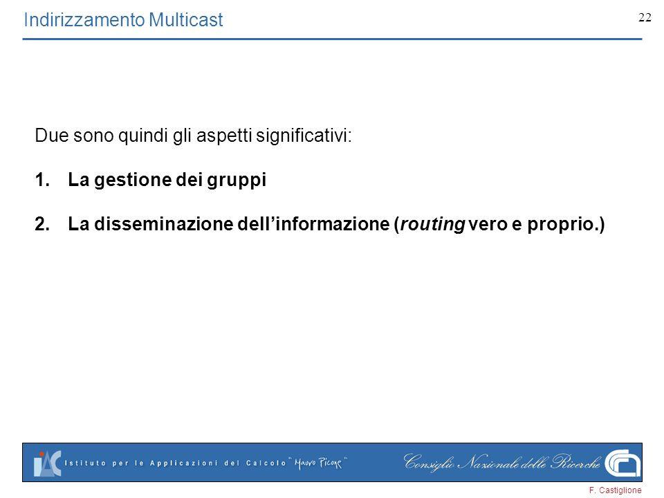 F. Castiglione 22 Indirizzamento Multicast Due sono quindi gli aspetti significativi: 1.La gestione dei gruppi 2.La disseminazione dellinformazione (r