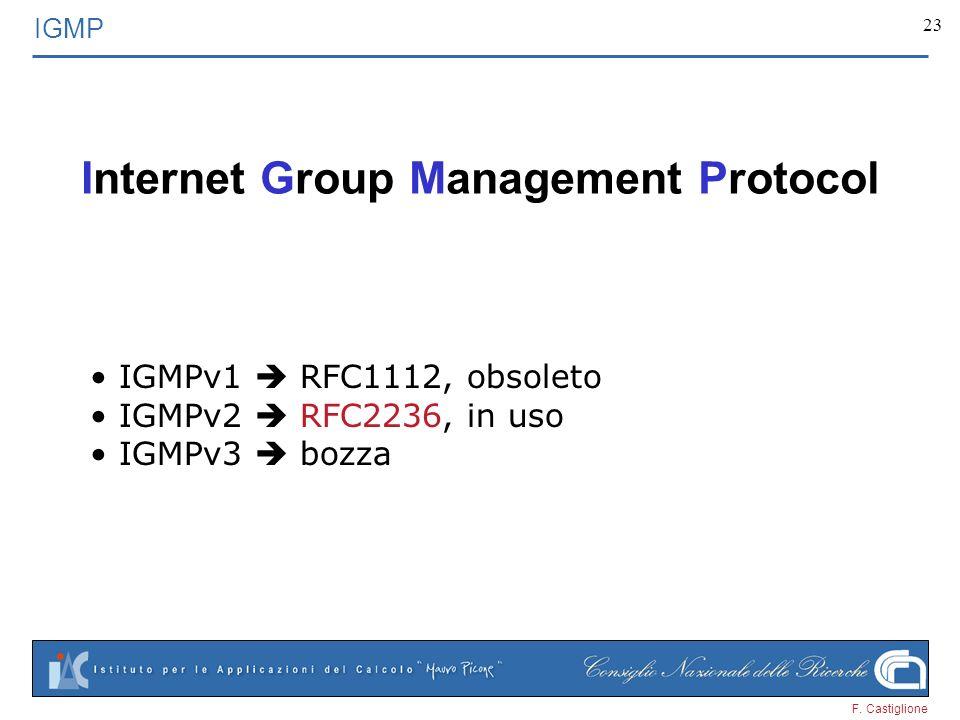 F. Castiglione 23 Internet Group Management Protocol IGMP IGMPv1 RFC1112, obsoleto IGMPv2 RFC2236, in uso IGMPv3 bozza