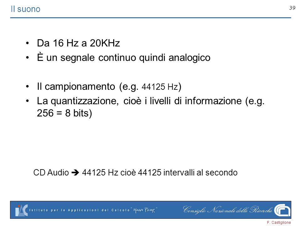 F. Castiglione 39 Il suono Da 16 Hz a 20KHz È un segnale continuo quindi analogico Il campionamento (e.g. 44125 Hz ) La quantizzazione, cioè i livelli