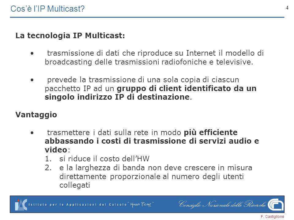 F. Castiglione 4 Cosè lIP Multicast? La tecnologia IP Multicast: trasmissione di dati che riproduce su Internet il modello di broadcasting delle trasm
