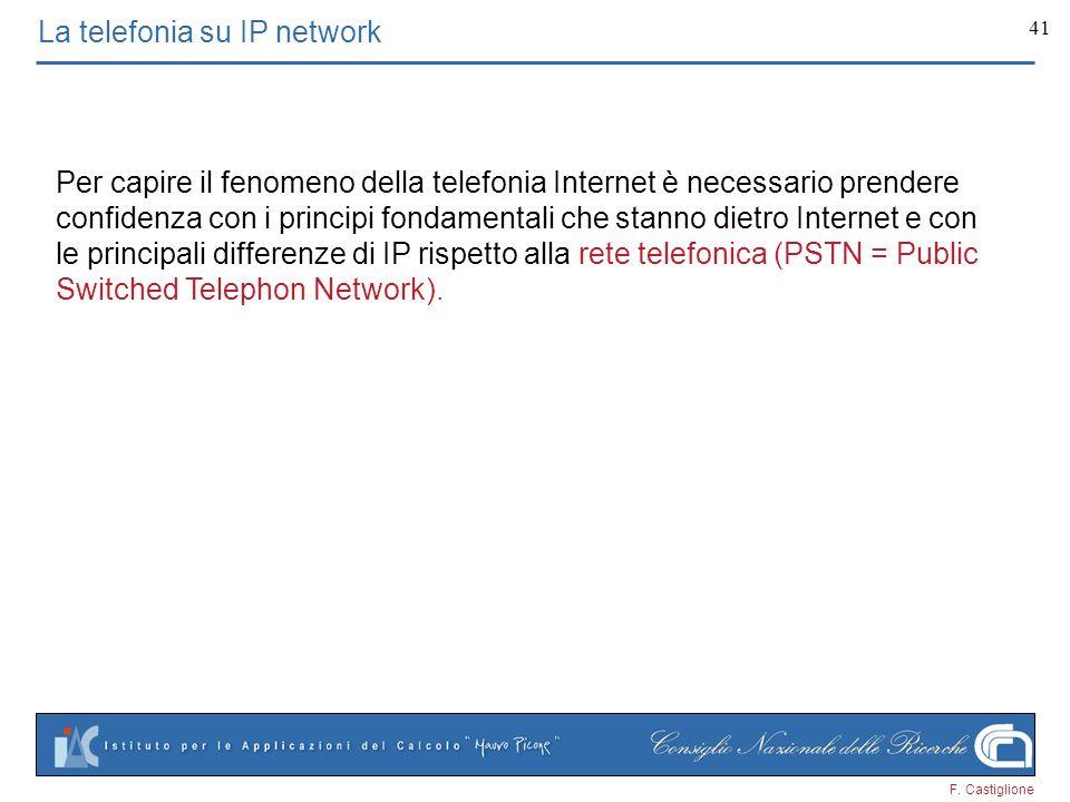 F. Castiglione 41 La telefonia su IP network Per capire il fenomeno della telefonia Internet è necessario prendere confidenza con i principi fondament