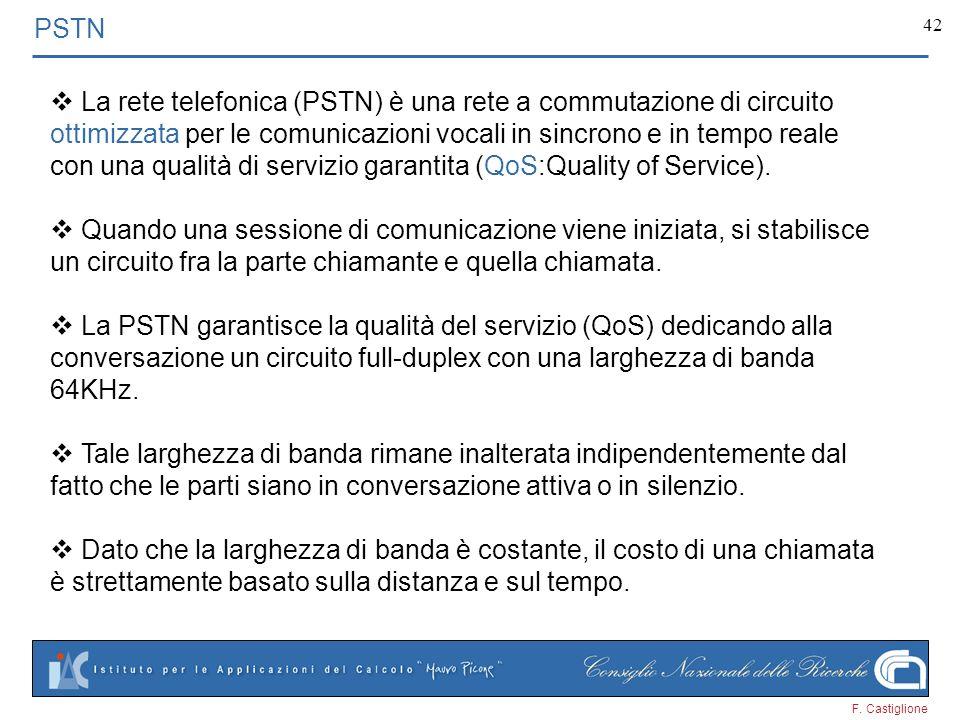 F. Castiglione 42 PSTN La rete telefonica (PSTN) è una rete a commutazione di circuito ottimizzata per le comunicazioni vocali in sincrono e in tempo