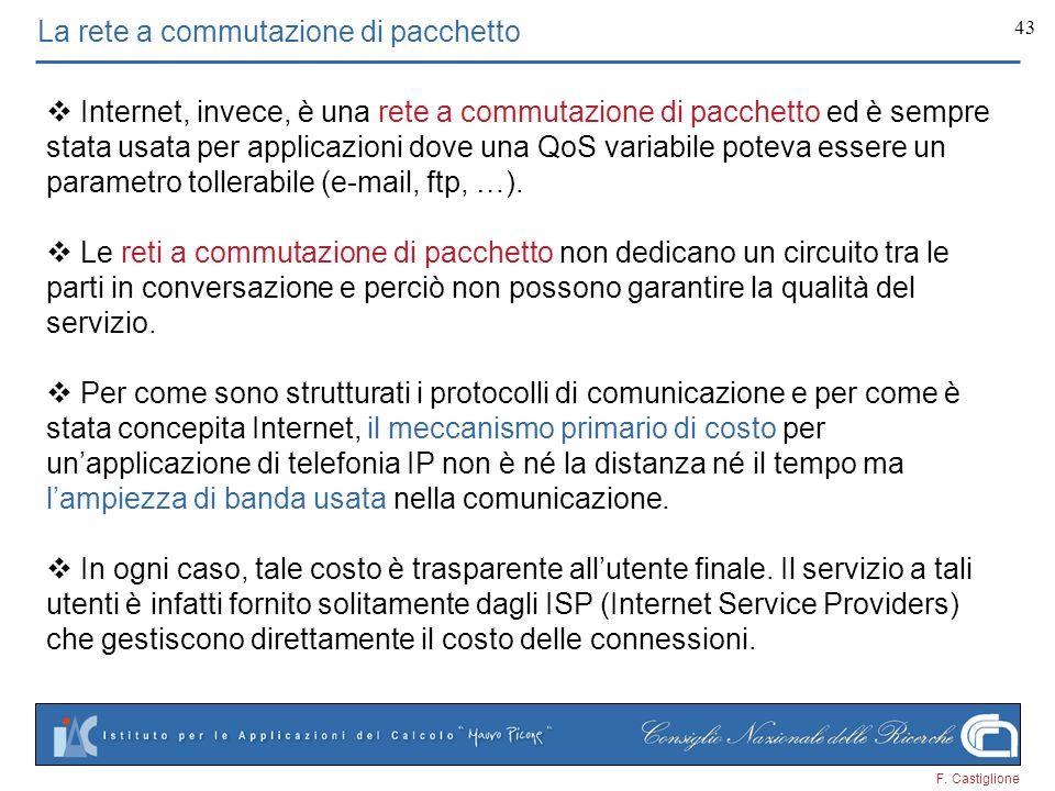 F. Castiglione 43 La rete a commutazione di pacchetto Internet, invece, è una rete a commutazione di pacchetto ed è sempre stata usata per applicazion