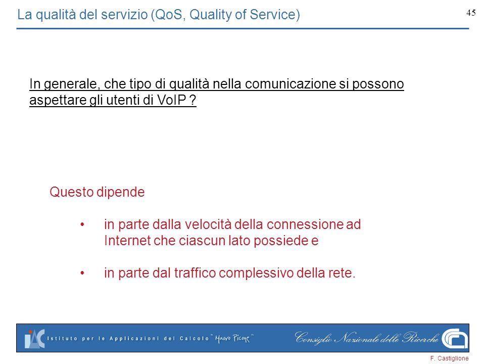 F. Castiglione 45 La qualità del servizio (QoS, Quality of Service) In generale, che tipo di qualità nella comunicazione si possono aspettare gli uten