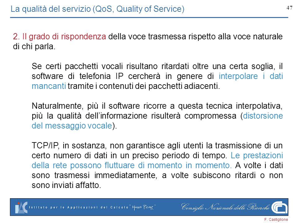 F. Castiglione 47 La qualità del servizio (QoS, Quality of Service) 2. Il grado di rispondenza della voce trasmessa rispetto alla voce naturale di chi