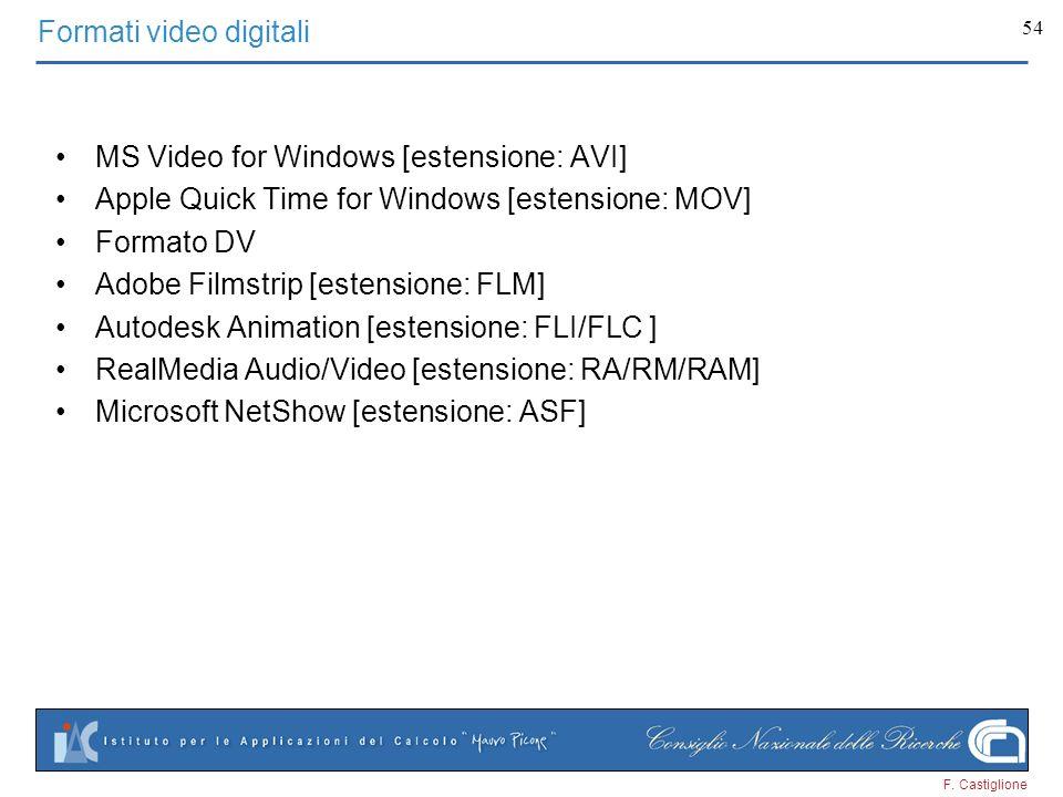 F. Castiglione 54 Formati video digitali MS Video for Windows [estensione: AVI] Apple Quick Time for Windows [estensione: MOV] Formato DV Adobe Filmst