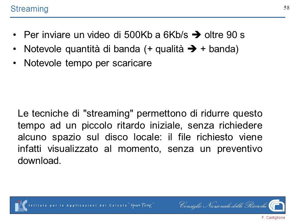 F. Castiglione 58 Per inviare un video di 500Kb a 6Kb/s oltre 90 s Notevole quantità di banda (+ qualità + banda) Notevole tempo per scaricare Streami