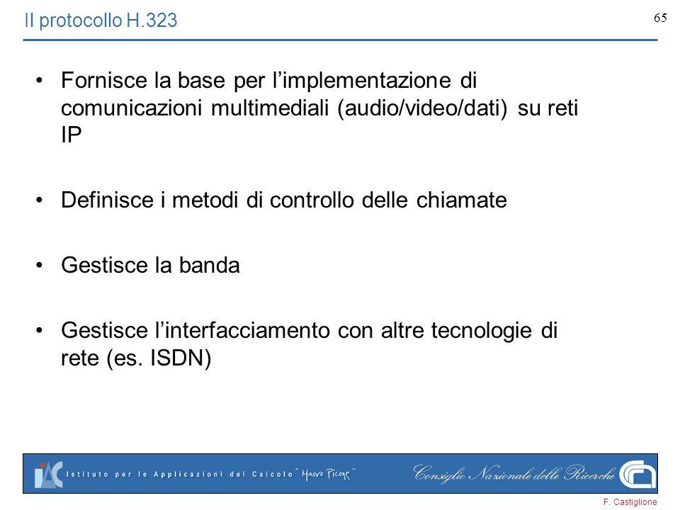 F. Castiglione 65 Il protocollo H.323 Fornisce la base per limplementazione di comunicazioni multimediali (audio/video/dati) su reti IP Definisce i me