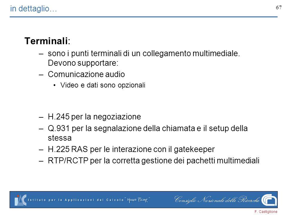 F. Castiglione 67 in dettaglio… Terminali: –sono i punti terminali di un collegamento multimediale. Devono supportare: –Comunicazione audio Video e da