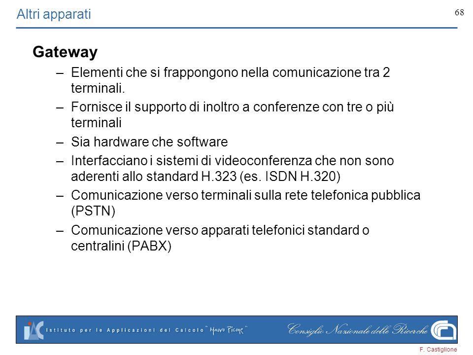 F. Castiglione 68 Gateway –Elementi che si frappongono nella comunicazione tra 2 terminali. –Fornisce il supporto di inoltro a conferenze con tre o pi