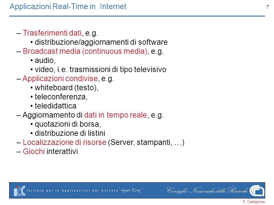 F. Castiglione 7 Applicazioni Real-Time in Internet – Trasferimenti dati, e.g. distribuzione/aggiornamenti di software – Broadcast media (continuous m