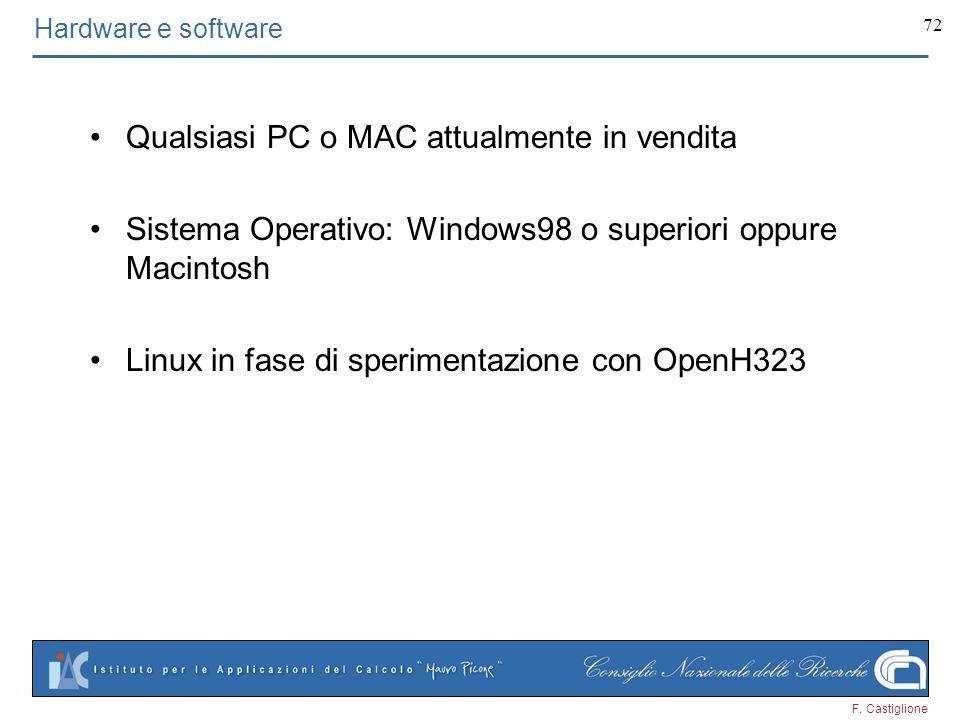 F. Castiglione 72 Hardware e software Qualsiasi PC o MAC attualmente in vendita Sistema Operativo: Windows98 o superiori oppure Macintosh Linux in fas