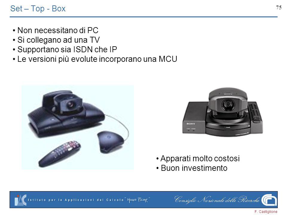 F. Castiglione 75 Set – Top - Box Non necessitano di PC Si collegano ad una TV Supportano sia ISDN che IP Le versioni più evolute incorporano una MCU