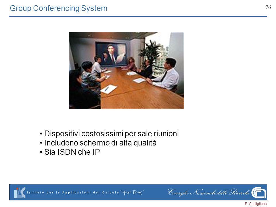 F. Castiglione 76 Group Conferencing System Dispositivi costosissimi per sale riunioni Includono schermo di alta qualità Sia ISDN che IP