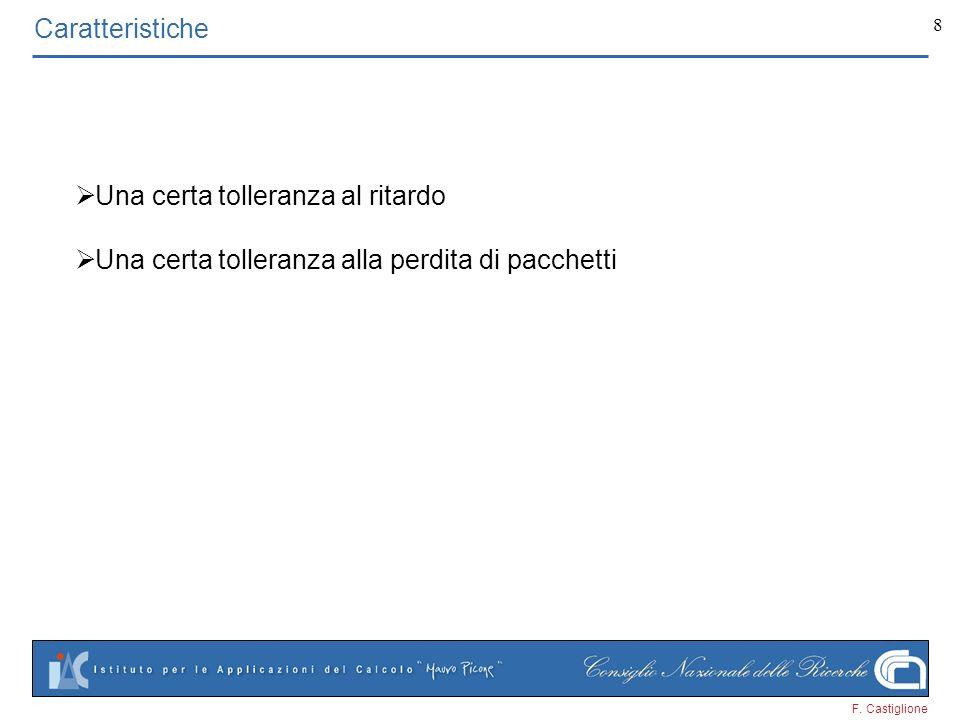 F. Castiglione 8 Caratteristiche Una certa tolleranza al ritardo Una certa tolleranza alla perdita di pacchetti