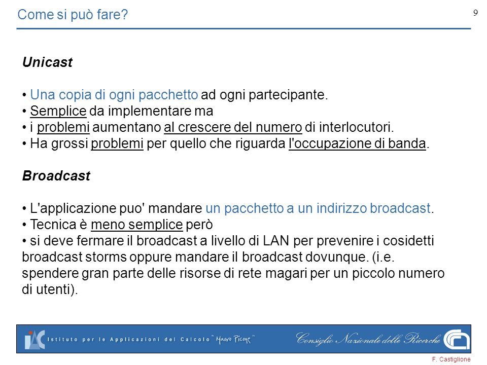 F. Castiglione 20 Conversione da multicast IP a multicast Ethernet MAC=Media Access Control