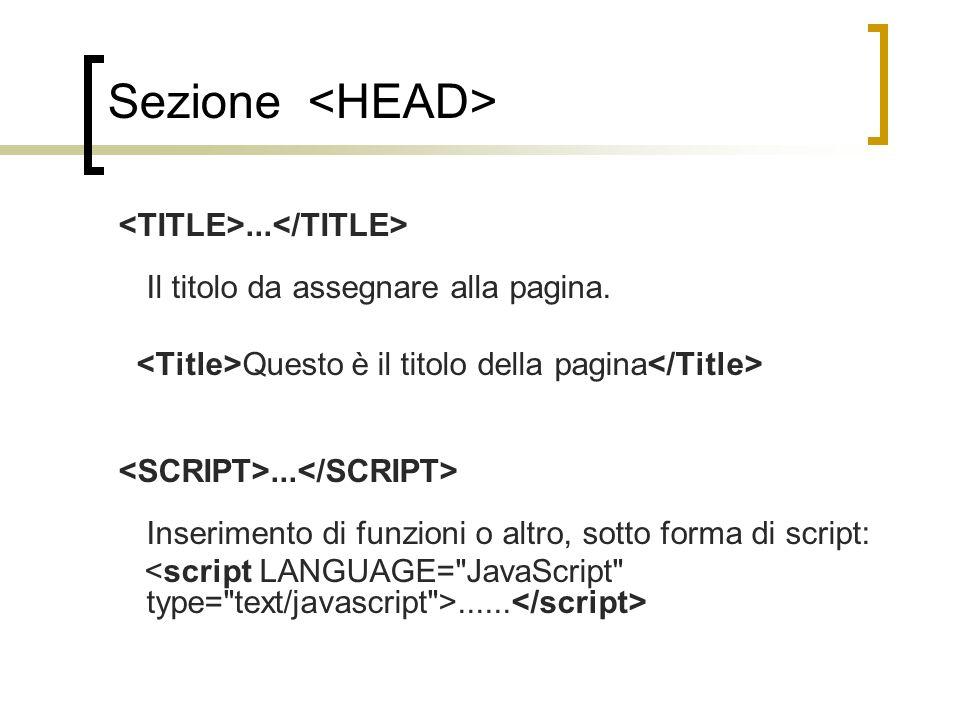 Sezione... Il titolo da assegnare alla pagina. Questo è il titolo della pagina... Inserimento di funzioni o altro, sotto forma di script:......