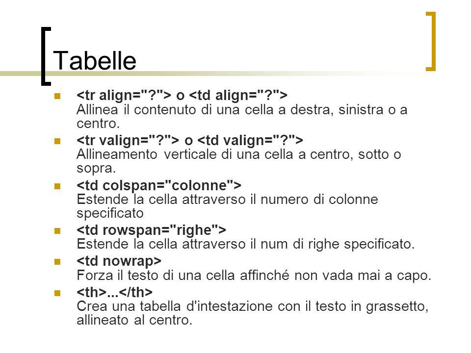 Tabelle o Allinea il contenuto di una cella a destra, sinistra o a centro. o Allineamento verticale di una cella a centro, sotto o sopra. Estende la c
