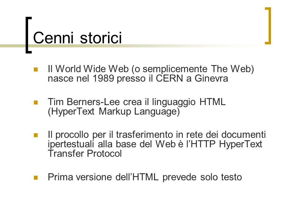 Cenni storici Il World Wide Web (o semplicemente The Web) nasce nel 1989 presso il CERN a Ginevra Tim Berners-Lee crea il linguaggio HTML (HyperText M