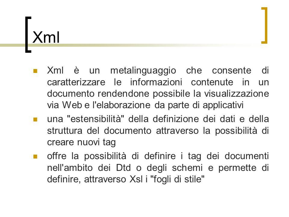 Xml Xml è un metalinguaggio che consente di caratterizzare le informazioni contenute in un documento rendendone possibile la visualizzazione via Web e