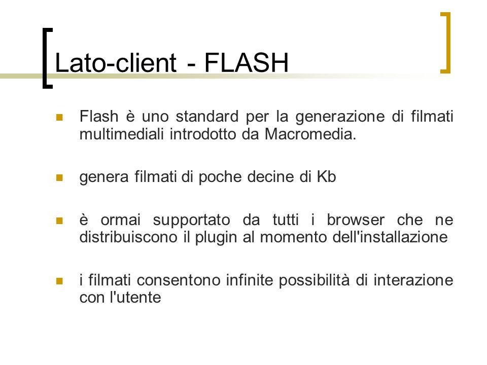 Lato-client - FLASH Flash è uno standard per la generazione di filmati multimediali introdotto da Macromedia. genera filmati di poche decine di Kb è o