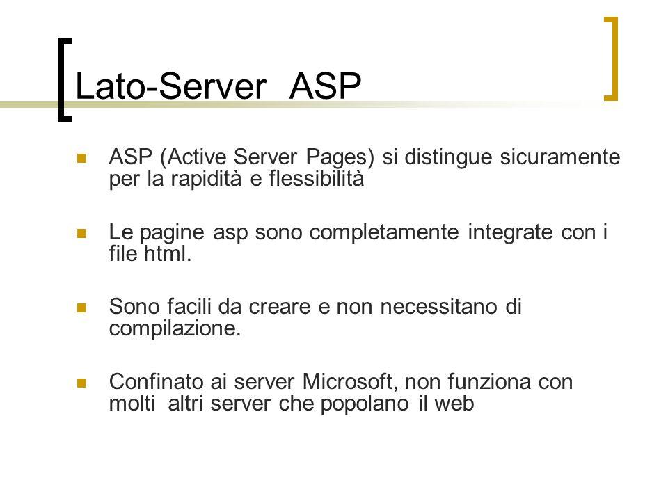 Lato-Server ASP ASP (Active Server Pages) si distingue sicuramente per la rapidità e flessibilità Le pagine asp sono completamente integrate con i fil