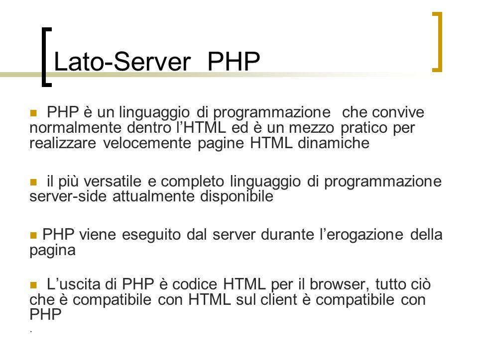 Lato-Server PHP PHP è un linguaggio di programmazione che convive normalmente dentro lHTML ed è un mezzo pratico per realizzare velocemente pagine HTM