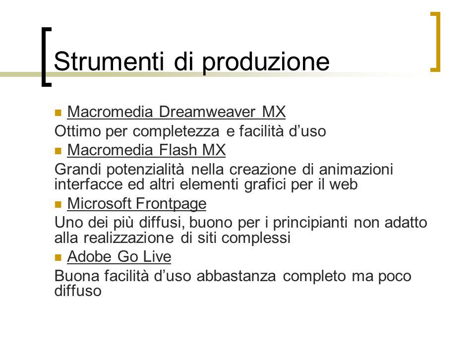 Strumenti di produzione Macromedia Dreamweaver MX Ottimo per completezza e facilità duso Macromedia Flash MX Grandi potenzialità nella creazione di an