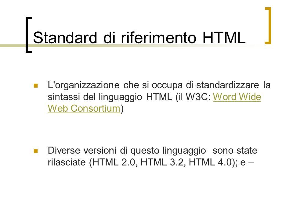 Standard di riferimento HTML L'organizzazione che si occupa di standardizzare la sintassi del linguaggio HTML (il W3C: Word Wide Web Consortium)Word W