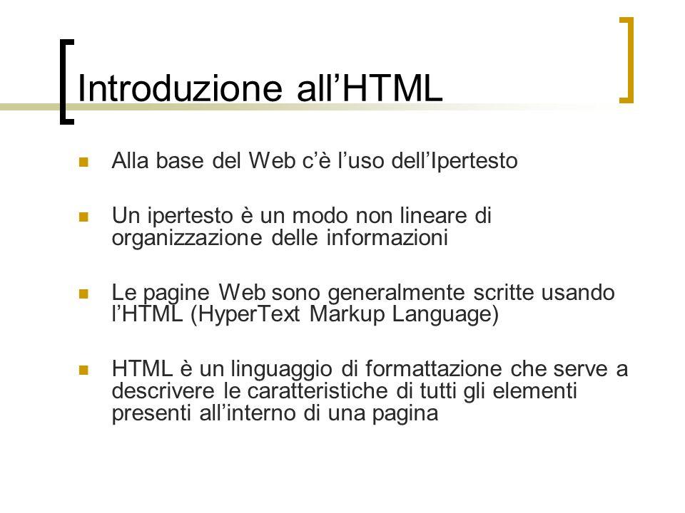 Introduzione allHTML Alla base del Web cè luso dellIpertesto Un ipertesto è un modo non lineare di organizzazione delle informazioni Le pagine Web son