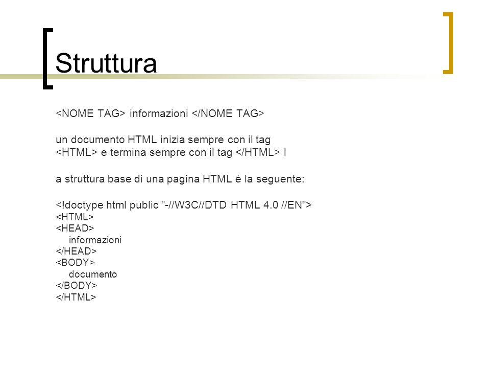 Struttura informazioni un documento HTML inizia sempre con il tag e termina sempre con il tag l a struttura base di una pagina HTML è la seguente: inf