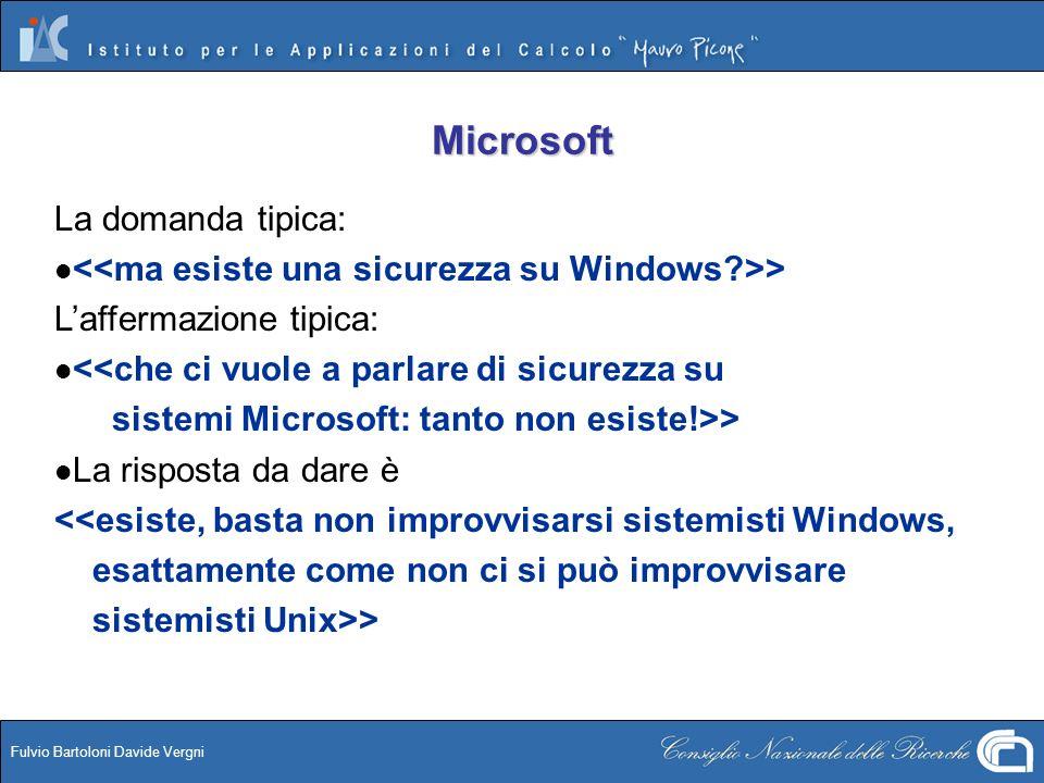 Fulvio Bartoloni Davide Vergni Microsoft La domanda tipica: > Laffermazione tipica: <<che ci vuole a parlare di sicurezza su sistemi Microsoft: tanto
