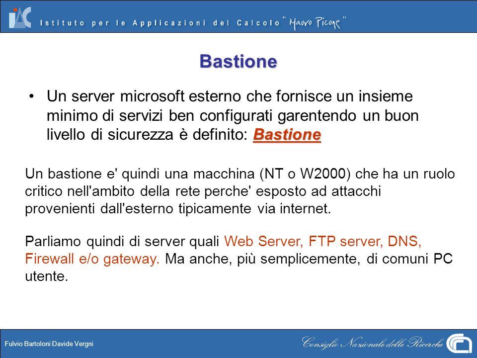 Fulvio Bartoloni Davide Vergni Bastione BastioneUn server microsoft esterno che fornisce un insieme minimo di servizi ben configurati garentendo un bu