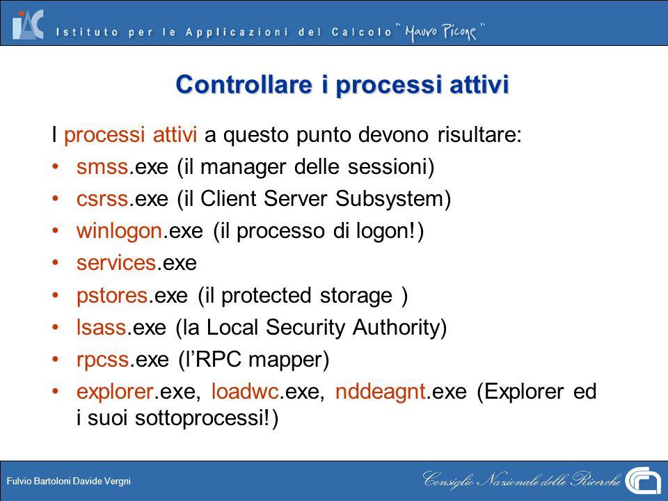 Fulvio Bartoloni Davide Vergni Controllare i processi attivi I processi attivi a questo punto devono risultare: smss.exe (il manager delle sessioni) c