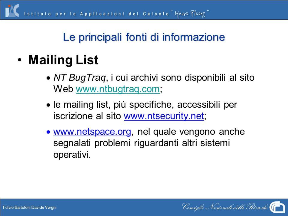 Fulvio Bartoloni Davide Vergni Le principali fonti di informazione Mailing List NT BugTraq, i cui archivi sono disponibili al sito Web www.ntbugtraq.c