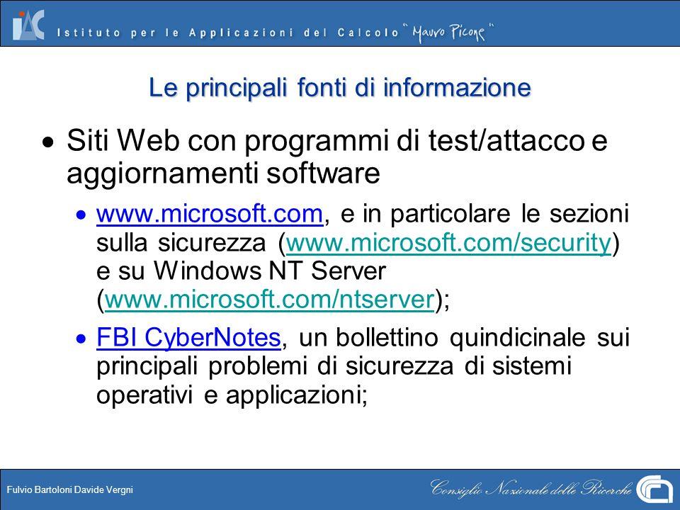 Fulvio Bartoloni Davide Vergni Le principali fonti di informazione Siti Web con programmi di test/attacco e aggiornamenti software www.microsoft.com,