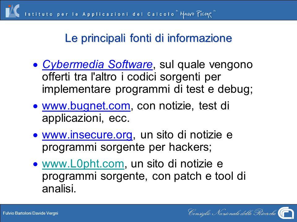 Fulvio Bartoloni Davide Vergni Le principali fonti di informazione Cybermedia Software, sul quale vengono offerti tra l'altro i codici sorgenti per im