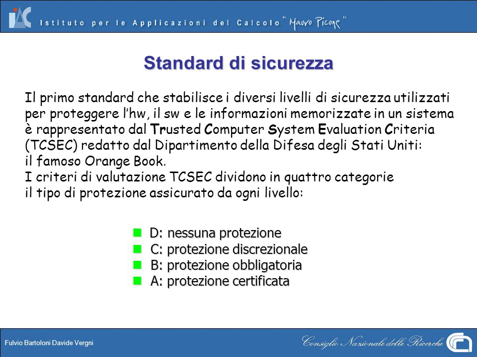 Fulvio Bartoloni Davide Vergni Bibliografia - Sitografia Bibliografia Aleph One – Smashing the Stack for Fun and Profit , http://packetstorm.widexs.nl/docs/hack/smashstack.txt http://www.cert.org/tech_tips/usc20_full.html Wietse Venema – Wietses tools and papers , ftp://ftp.porcupine.org/pub/security/index.html Darren Reed – IP Filter , http://cheops.anu.edu.au/~avalon/ip-filter.html Christopher H.
