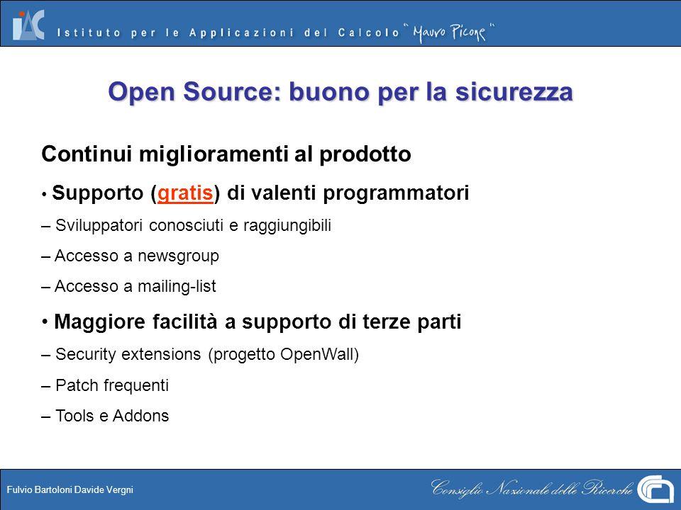 Fulvio Bartoloni Davide Vergni Open Source: buono per la sicurezza Continui miglioramenti al prodotto Supporto (gratis) di valenti programmatori – Svi