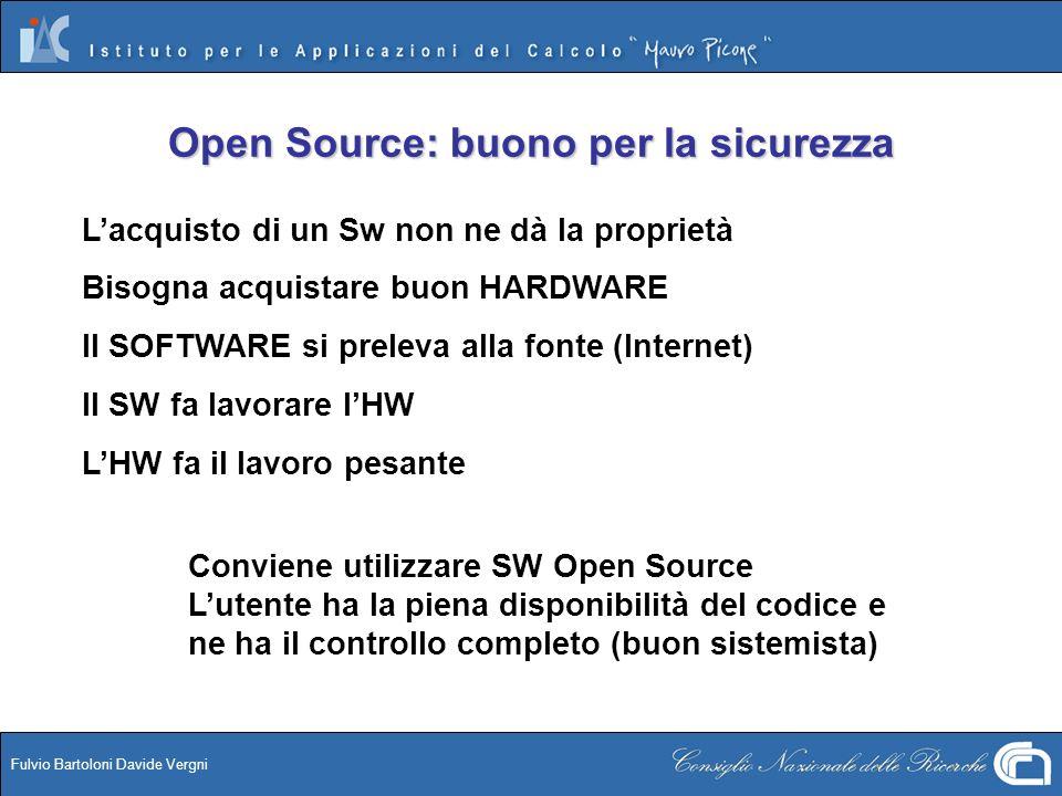 Fulvio Bartoloni Davide Vergni Conviene utilizzare SW Open Source Lutente ha la piena disponibilità del codice e ne ha il controllo completo (buon sis