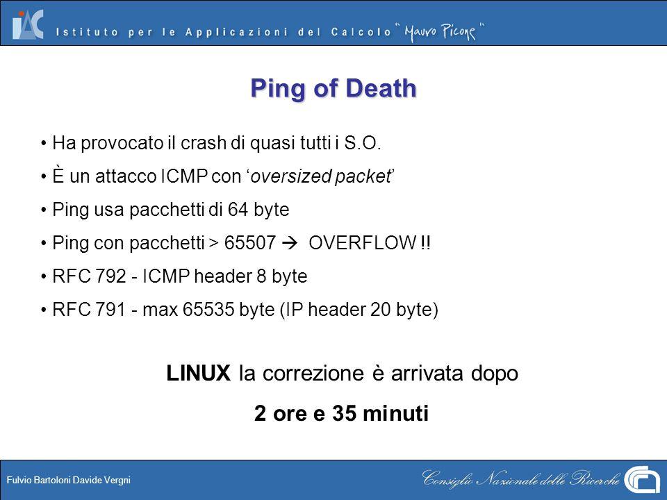 Fulvio Bartoloni Davide Vergni Ping of Death Ha provocato il crash di quasi tutti i S.O. È un attacco ICMP con oversized packet Ping usa pacchetti di