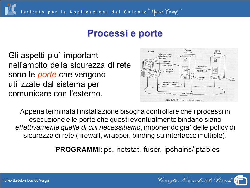 Fulvio Bartoloni Davide Vergni Processi e porte Gli aspetti piu` importanti nell'ambito della sicurezza di rete sono le porte che vengono utilizzate d