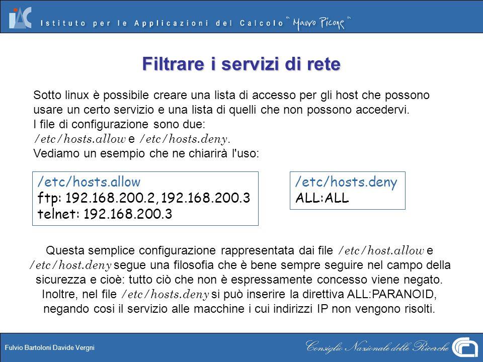Fulvio Bartoloni Davide Vergni Sotto linux è possibile creare una lista di accesso per gli host che possono usare un certo servizio e una lista di que
