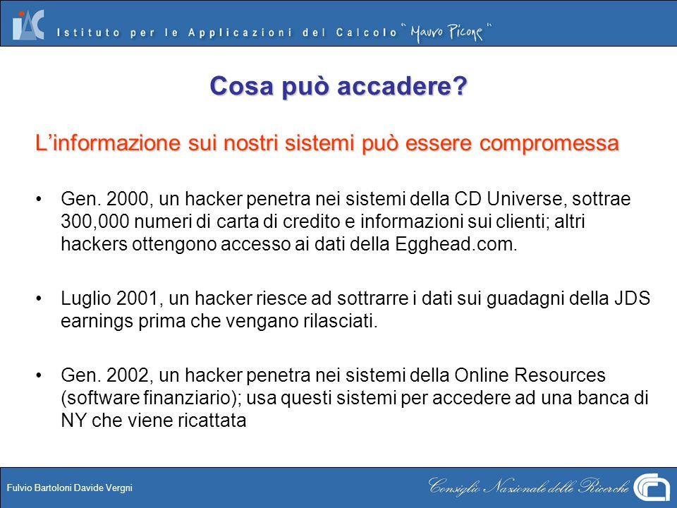 Fulvio Bartoloni Davide Vergni Le principali fonti di informazione Siti Web con programmi di test/attacco e aggiornamenti software www.microsoft.com, e in particolare le sezioni sulla sicurezza (www.microsoft.com/security) e su Windows NT Server (www.microsoft.com/ntserver);www.microsoft.com/securitywww.microsoft.com/ntserver FBI CyberNotes, un bollettino quindicinale sui principali problemi di sicurezza di sistemi operativi e applicazioni;