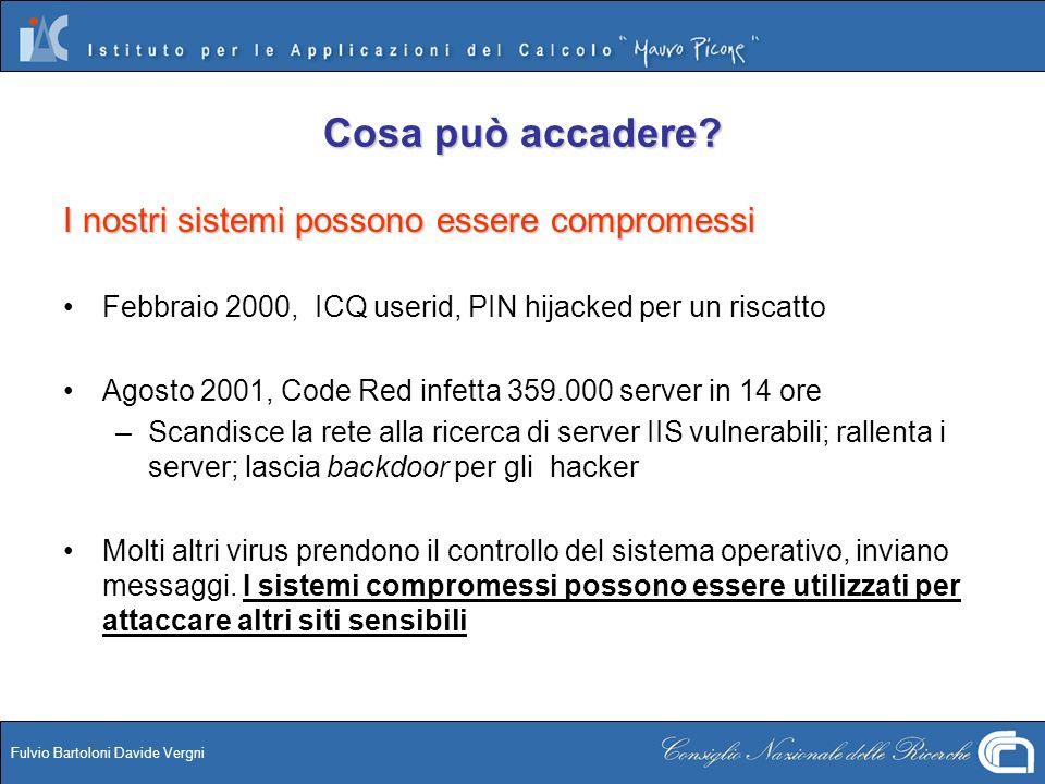 Fulvio Bartoloni Davide Vergni Cosa può accadere? I nostri sistemi possono essere compromessi Febbraio 2000, ICQ userid, PIN hijacked per un riscatto