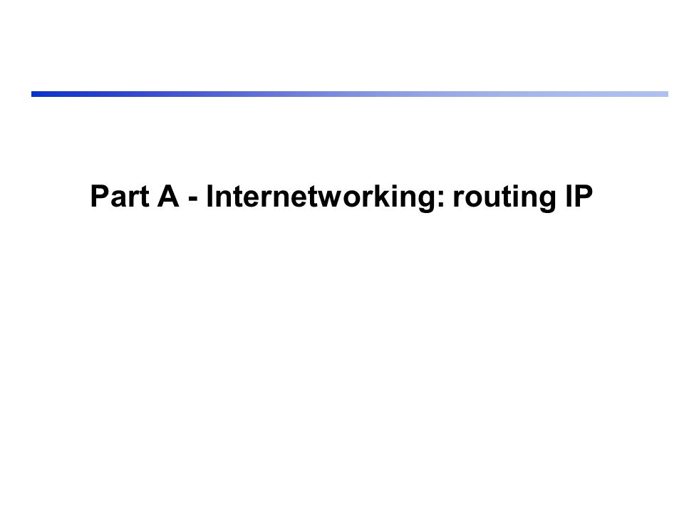 Part A - Internetworking: routing IP