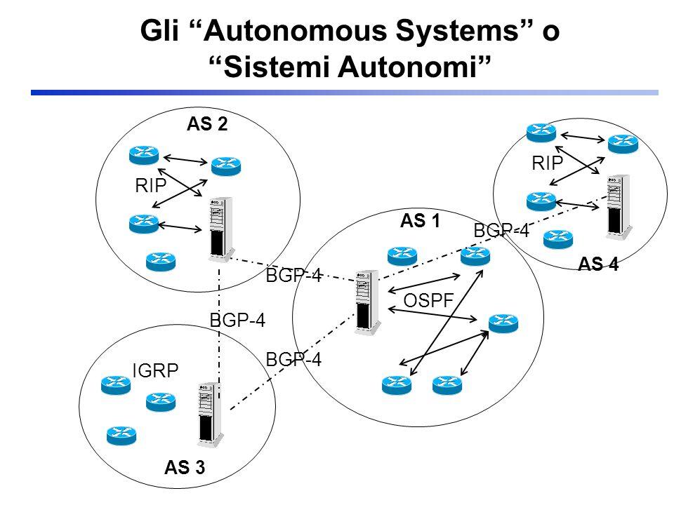 Gli Autonomous Systems o Sistemi Autonomi AS 1 AS 2 AS 3 BGP-4 OSPF RIP IGRP AS 4 RIP BGP-4